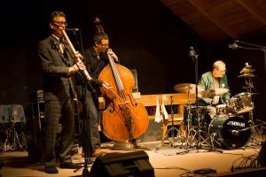 Ab Baars, Meinrad Kneer, and Bill Elgart at Kaleidophon 2013 in Ulrichsberg, Austria (photo from Meinrad Kneer)