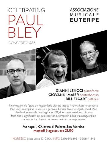 Celebrating Paul Bley concert poster from the 2016 Ritratti Festival in Monopoli, Italy