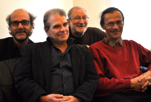 a recent photo of Ardhi Engl, Geoff Goodman, Bill Elgart, and Sebi Tramontan in 2012 (courtesy of Geoff Goodman)