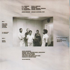 Charlie Mariano and The Kamataka College Of Percussion feat. R.A. Ramamani- Jyothi (1983) ECM Records back