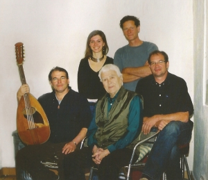 Fjoralba Turku and Tobia Ott (back row) Geoff Goodman, Charlie Mariano, and Bernd Hess (front row) from Geoff Goodman's Tabla and Strings - Song Of Nature (2008) CD booklet crop