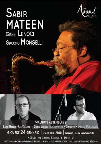 Sabir Mateen, Gianni Lenoci, and Giacomo Mongelli concert poster