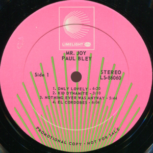 Paul Bley - Mr. Joy (1968) Limelight label A