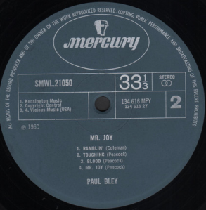 Paul Bley - Mr. Joy (1968) Mercury label B