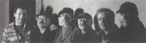 producer Raimondo Meli Lupi, Mick Goodrick, Bill Elgart, Claudio Fasoli, Kenny Wheeler, and Henri Texier from Ten Tributes (1995) CD booklet