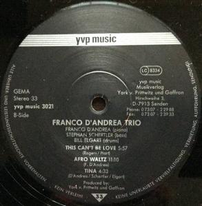 Francp D'Andrea Trio - Franco D'Andrea Trio (1996) YVP Music Label B