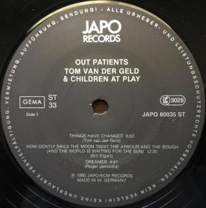 Tom van der Geld and Children At Play - Out Patients (1980) Japo Records label A