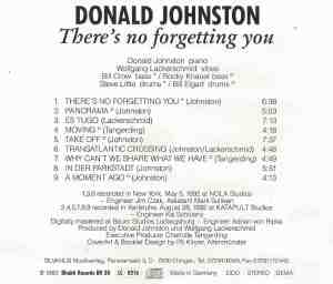 Donald Johnston - There's No Forgetting You (1993) Bhakti Records back