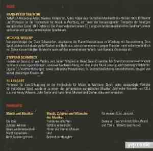 Hans-Peter Salentin – Michael Wollny – Stephan Schmolck – Bill Elgart – Beyond Our Thoughts (2007) YVP Music CD booklet 2