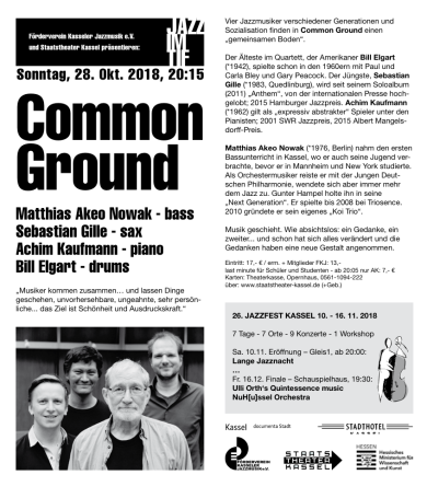 Common Ground 28 Oct 2018 flyer